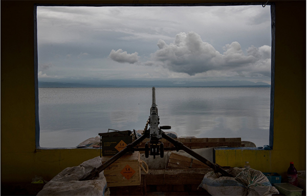 A machine gun mounted by government soldiers to guard Lanao lake near Marawi in September. Credit Jes Aznar for The New York Times